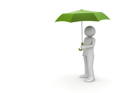 dull: Man Under Green Umbrella (3d isolated characters on white background series) Stock Photo