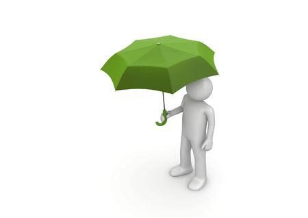 Man Under Green Umbrella (3d isolated characters on white background series) photo
