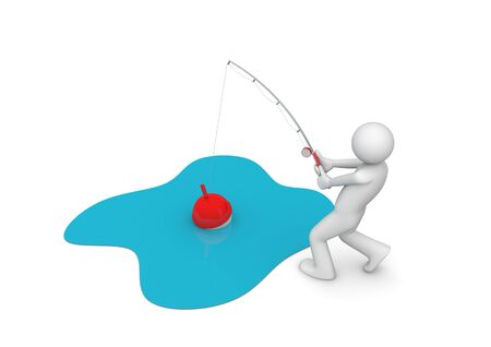 unrecognizable person: Man Fishing (3d isolated characters on white background series)