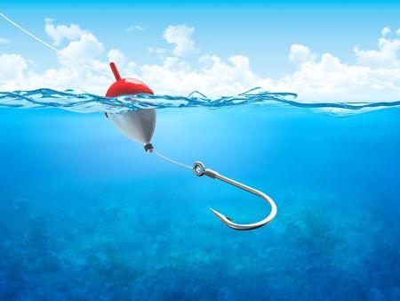 hengelsport: Zweven, vislijn en haak onderwater verticaal (3D-illustraties concepten serie om te gebruiken als achtergrond of werkstukken)