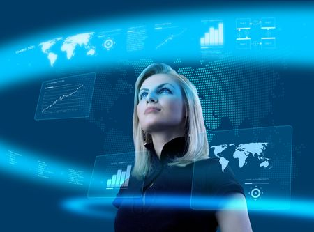 futuristic interface: Attractive blonde young woman in futuristic interface (business people in virtual space photo collages series)