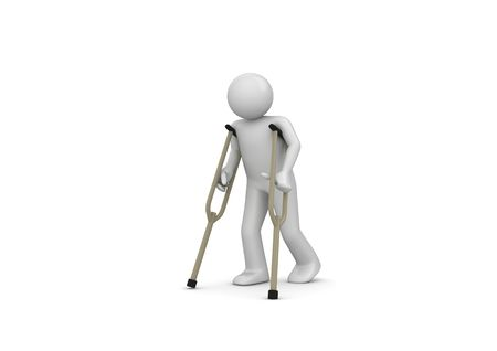 legs: Injured man on crutches (3d isolated on white background characters series)