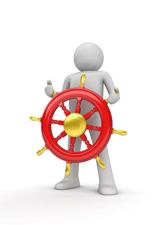 navigating: Happy captain steering the wheel (3d isolated on white background characters series) Stock Photo