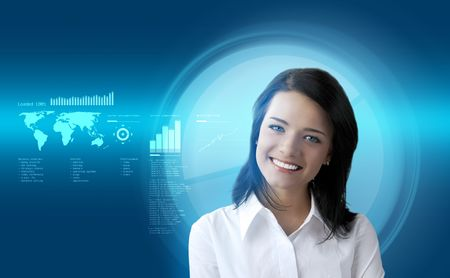 Happy smiling brunette futuristic interface (outstanding business people in interiors / interfaces series) Stock Photo - 6540284
