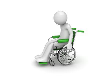 車輪付きの椅子に身体障害者 (医学シリーズ ホワイト バック グラウンドで分離された 3 d キャラクター)