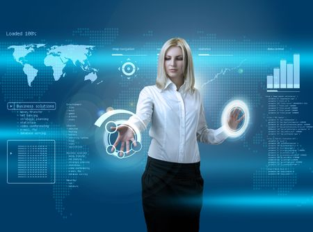 virtual world: Attractive blonde navigating futuristic interface (outstanding business people in interiors  interfaces series) Stock Photo