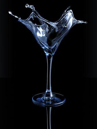 copa de martini: Salpicando vaso de martini (3d aislados en la serie de los objetos de fondo blanco)