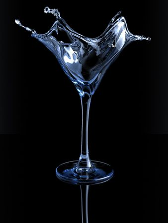 martini glass: Splashing martini glass (3d isolated on white background objects series)