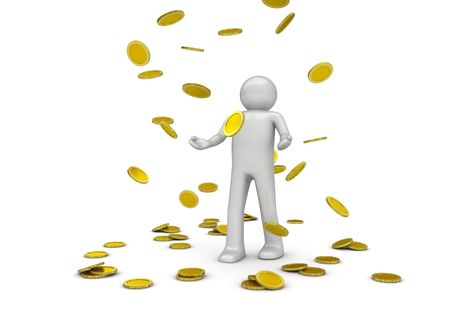 Golden rain (3d isolated characters on white background, business and finance series) Stok Fotoğraf