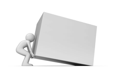 lifter: Heavy cube lift up copy space (3d isolated characters on white background series)