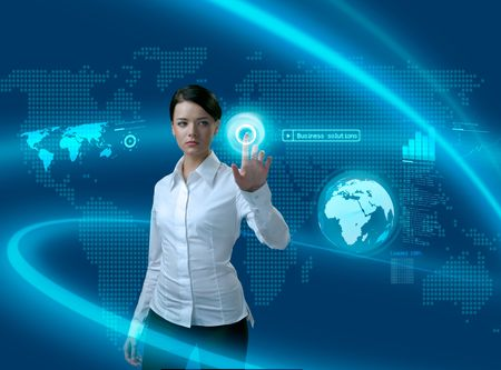 Future business solutions businesswoman in interface (outstanding business people in interiors / interfaces series) Stock Photo - 6545091