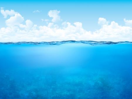 Ligne de flottaison et le fond sous-marin (eau 3d expériences avec la série espace de copie) Banque d'images