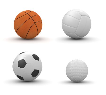 four objects: Four sport balls isolated: basketball, volleyball, football, golf (3d isolated on white background objects series)