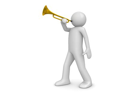 Trumpeter (3d isolated characters on white background series)