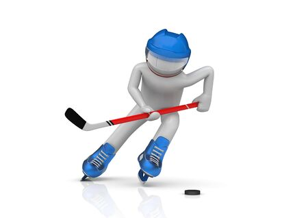 puck: Hockey player close-up (3d isolated characters on white background, sports series) Stock Photo