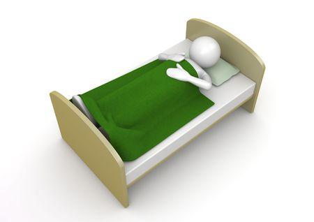 Het is tijd om te slapen (3d geïsoleerd op een witte achtergrond tekens serie)