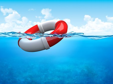 high sea: Help! Ring-buoy underwater (3d illustrations concepts series to use as backgrounds or workpieces) Stock Photo