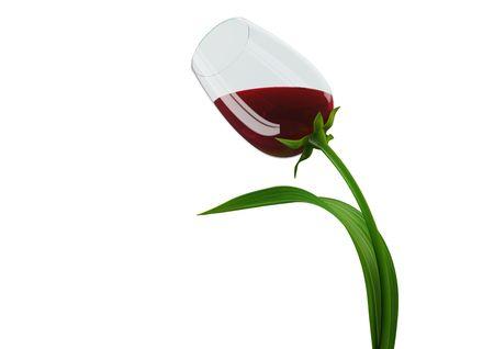 Tulip-stijl wijn glas concept (3d geïsoleerd op witte achtergrond objecten serie)