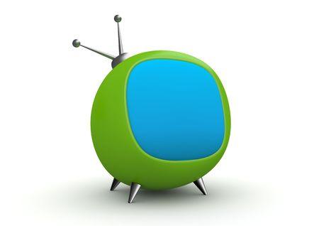 Grappig tv (3d geïsoleerd op witte achtergrond tekens reeks)