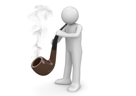 Pipe smoker (3d isolated on white background characters series) Stok Fotoğraf