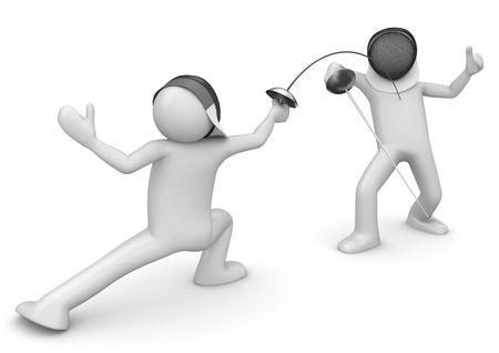 esgrima: Dos tiradores (3d fondo blanco aislado en caracteres serie)