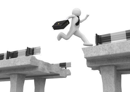 도 간격을 통해 점프 사업가 (3d 흰색 배경 비즈니스 문자 시리즈 절연)