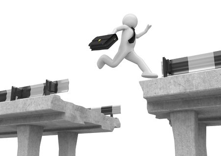 overcome: Businessman jumping over the road gap (3d isolated on white background business characters series) Stock Photo