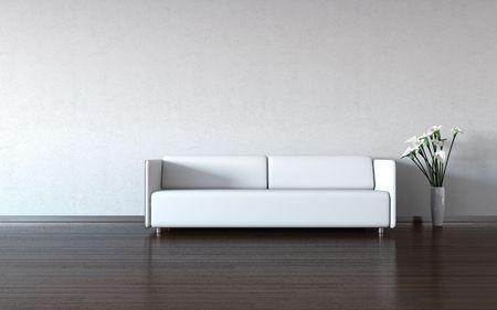 Minimalisme: witte bank en vaas bij de muur (3D-minimalisme HQ interieurs met kopie ruimteserie)