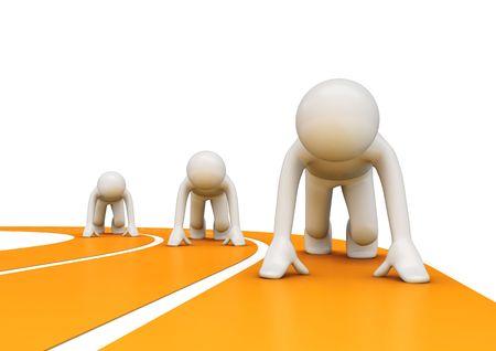 oefenen: Circuit lopers voor aanvang (3d geïsoleerd op een witte achtergrond personages, sport serie)