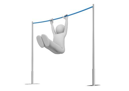 unrecognizable: Athlete on horizontal bar (3d isolated on white background characters series)