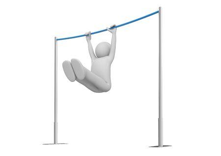 rekstok: Atleet op de horizontale balk (3d geïsoleerd op een witte achtergrond tekens serie)