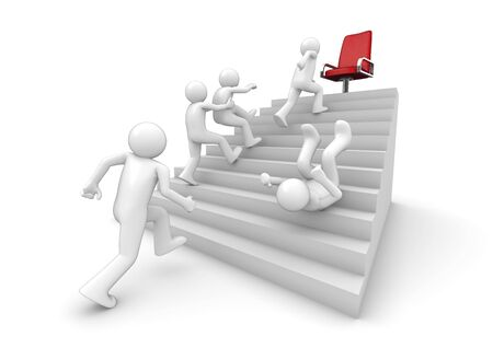 Running on the ladder of success (3d isolated on white background characters, business series)