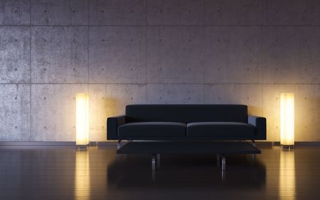 Minimalism: black couch and two lights by the wall photo