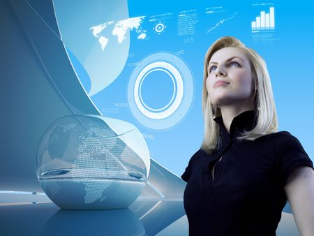 virtual office: Attractive blonde with interface in future interior (outstanding business people in interiors  interfaces series)