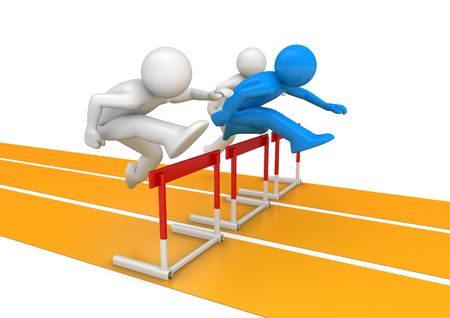 Hurdle race (3d isolated on white background characters, sports series)