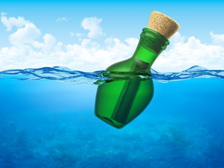 message: Message in a bottle (3d conceptual objects floating in open water)