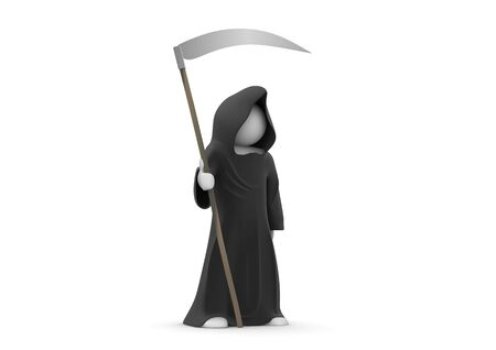 unrecognizable person: Death with scythe (3d isolated on white background characters series)