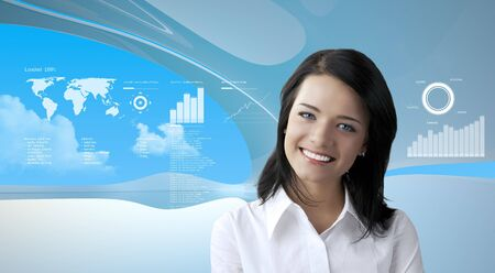 Attractive brunette on future background (outstanding business people in interiors  interfaces series)
