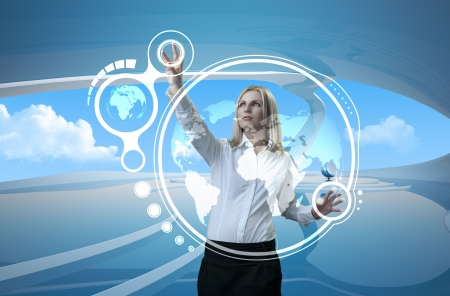 Attractive blonde on future background (outstanding business people in interiors / interfaces series) Standard-Bild