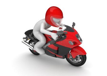casco rojo: Motociclista (3d aislados en la serie de caracteres de fondo blanco) Foto de archivo