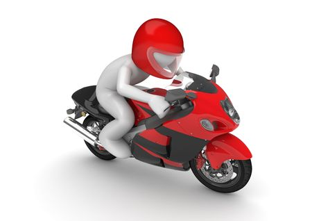 motorcycle racing: Motorcyclist (3d isolated on white background characters series) Stock Photo