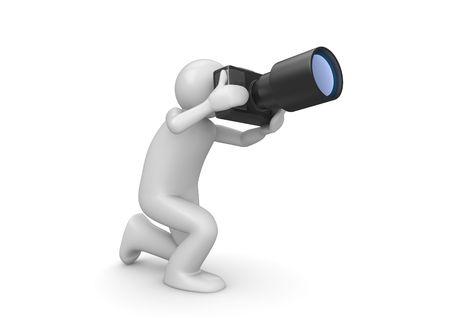 inginocchiarsi: Fotografo (3d isolato su sfondo bianco serie di caratteri)