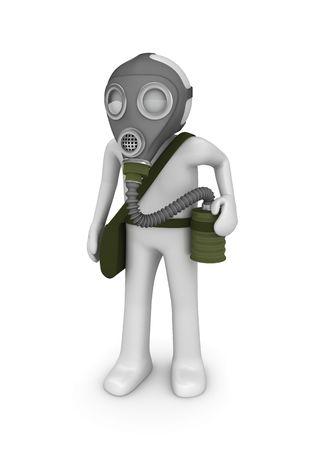 poisoning: Uomo in maschera antigas (3d isolato su sfondo bianco serie di caratteri) Archivio Fotografico