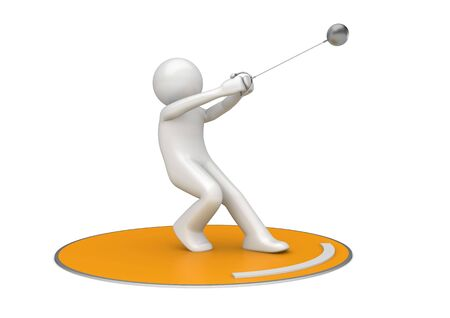 Hammer throwing (3d isolated on white background sports characters series) Stok Fotoğraf