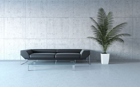 Extremely stylish minimalism interior (3d HQ interiors with copy spaces series) Stock Photo - 6630563