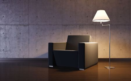 lighting background: Cosy minimalism interior (3d HQ interiors with copy spaces series) Stock Photo