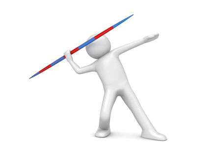 Javelin throwing (3d isolated on white background sports characters series) photo