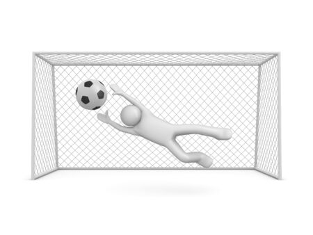 Chance to score in soccer (3d isolated on white background sports characters series) Banco de Imagens