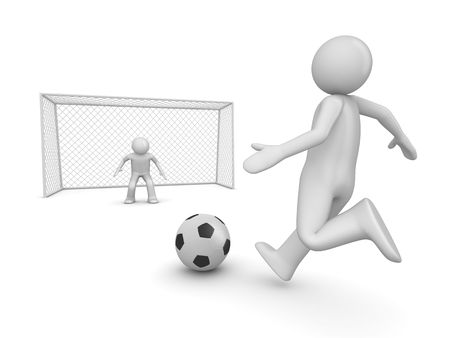 leap: Soccer forward in penalty area (3d isolated on white background sports characters series) Stock Photo