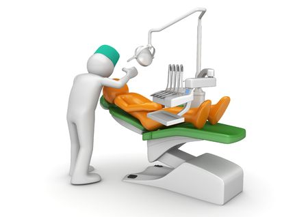 chair cartoon: Dentist and patient in dental chair (3d isolated on white background medical characters series)